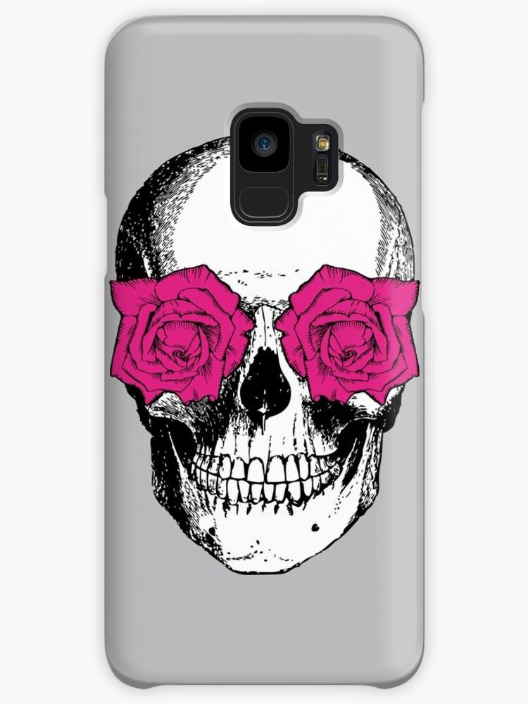 Fundas y vinilos para Samsung Galaxy «Calavera y rosas | Gris y rosa ...