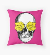 Skull and Roses | Pink and Yellow Floor Pillow