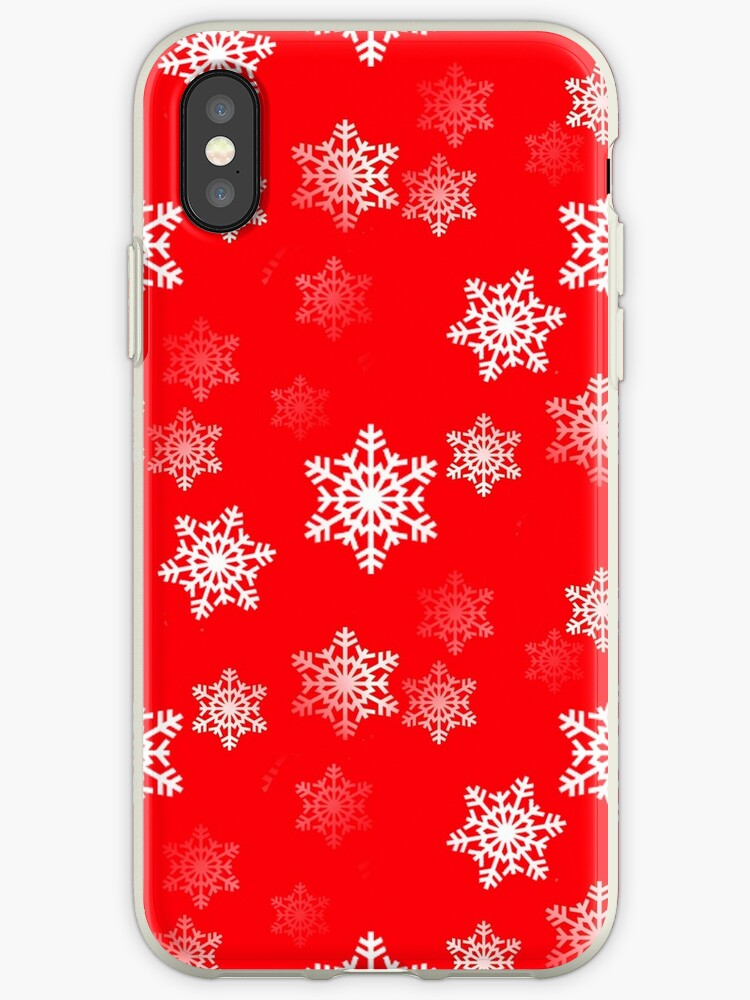 White Snowflake On Christmas Red by podartist