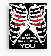My Hearts Beat For You - White Canvas Print