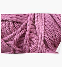 Magenta Yarn Texture Close Up Poster