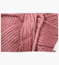 Pastel Red Yarn Texture  Poster