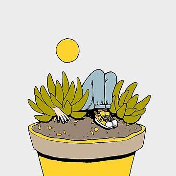 Sitting in Succulents by bzerboart