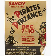 WPA United States Government Work Project Administration Poster 0796 Savoy Theatre The Pirates of Penzance Poster