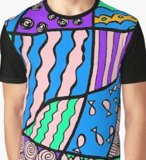 Doodle Art Drawing - Fishes and Waves - Blue Purple Graphic T-Shirt