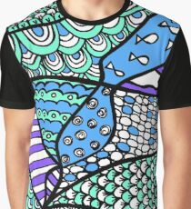 Doodle Art Drawing - Fishes and Waves - Blue Green Purple Graphic T-Shirt