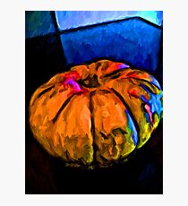 Still Life of an Orange Pumpkin with some Blue and Pink Photographic Print