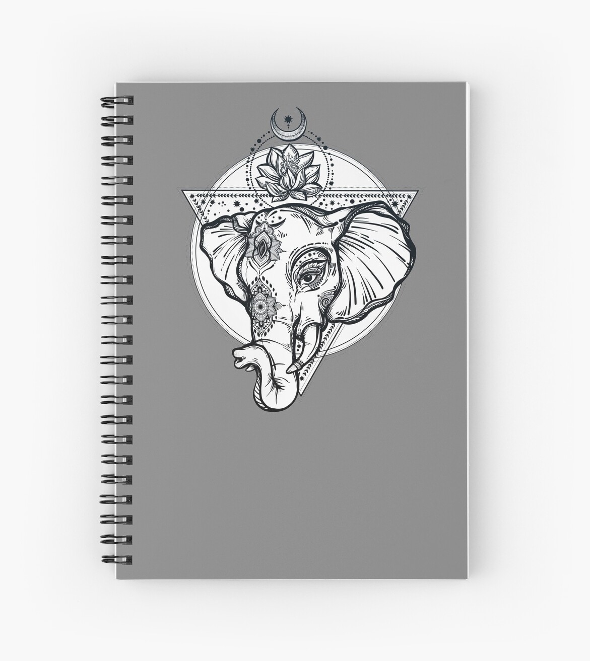 Sacred Elephant With Lotus Flower And Sacred Geometry Spiral