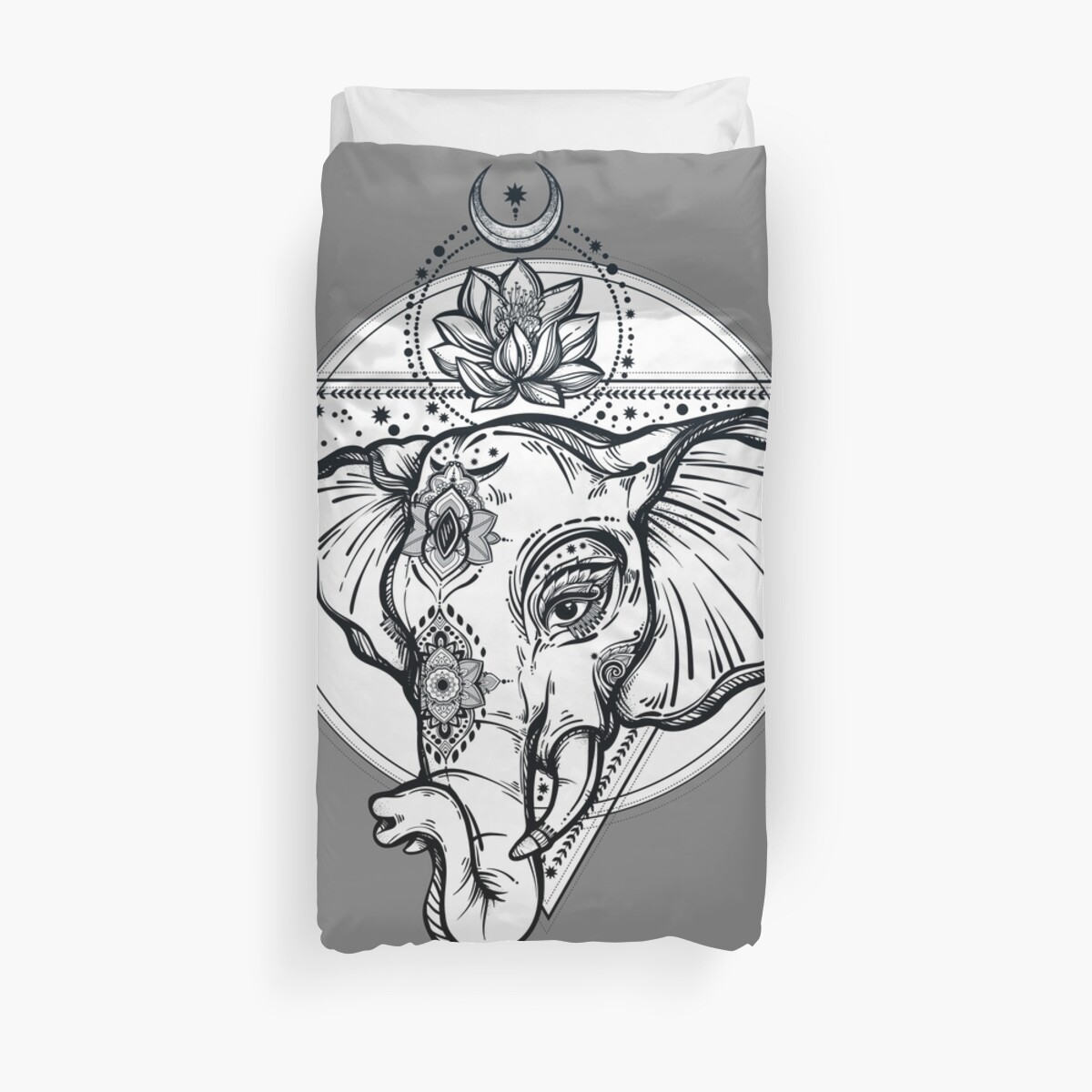 Sacred Elephant With Lotus Flower And Sacred Geometry Duvet Covers