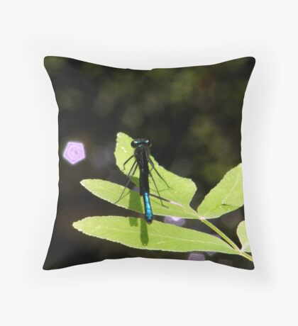 Damselfly and  Lavender Jewels Throw Pillow