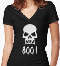 Halloween Shirt/Hoodie/Tank/Dress Gift- Scary Skull Boo ! Women's Fitted V-Neck T-Shirt