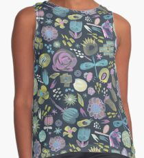 Midnight Floral - a hand painted all over semi- abstract flower repeat on blue black Contrast Tank