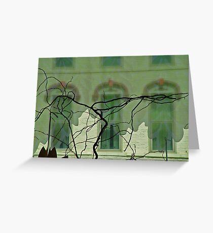 Three windows and a tree Greeting Card