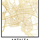 ANTALYA TURKEY CITY STREET MAP ART by deificusArt