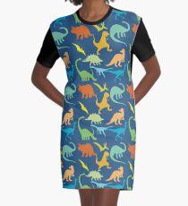 Colorful Dinosaur Pattern  Graphic T-Shirt Dress