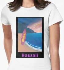 Aloha Hawaii Surfer Retro Poster Women's Fitted T-Shirt