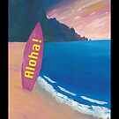Aloha Hawaii Surfer Retro Poster by artshop77