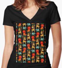 Wild animals Women's Fitted V-Neck T-Shirt