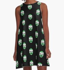 Lucha Libre // Mexican Wrestling Mask Green Demon A-Line Dress