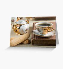 Morning espresso and cookies savoiardi Greeting Card