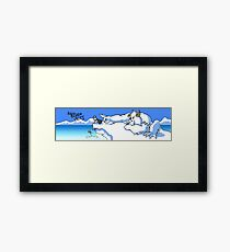Bored Yeti Flicking Penguins into Water Framed Print