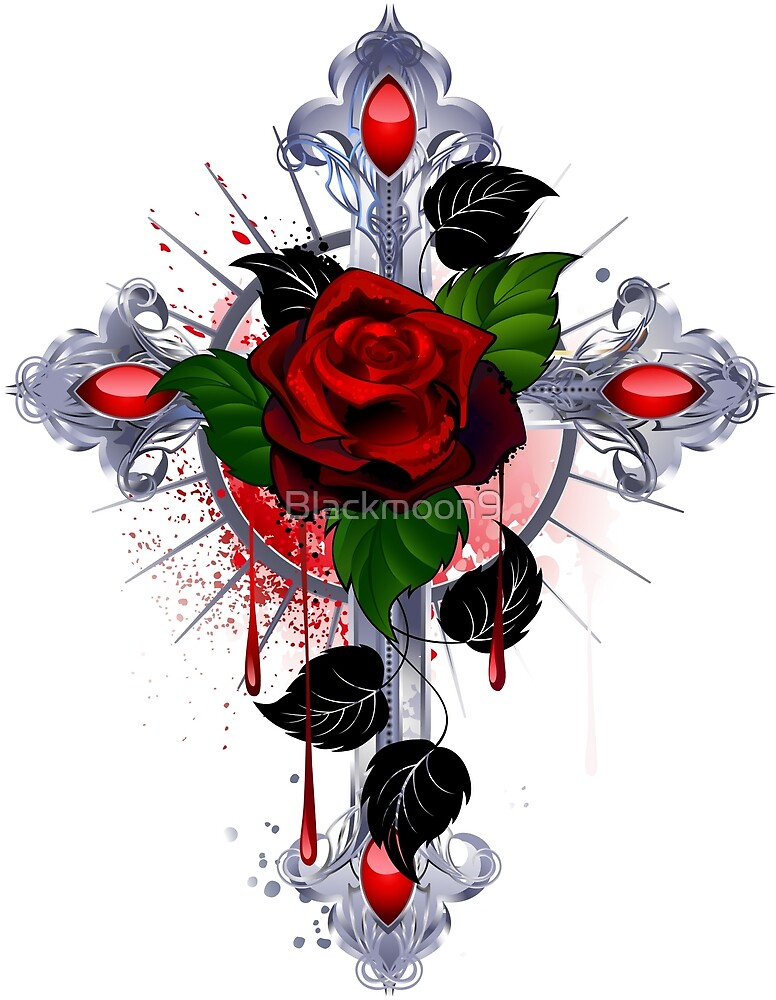 Cross with a red rose by Blackmoon9