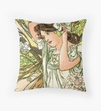June from the 1889 Calendar by Alphonse Mucha Throw Pillow
