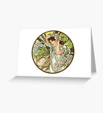 June from the 1889 Calendar by Alphonse Mucha Greeting Card