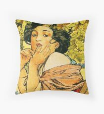 July from the 1889 Calendar by Alphonse Mucha Throw Pillow