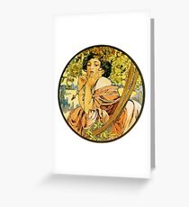 July from the 1889 Calendar by Alphonse Mucha Greeting Card