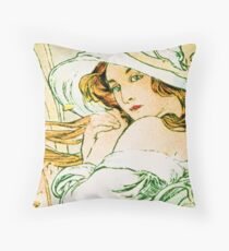 November from the 1889 Calendar by Alphonse Mucha Throw Pillow