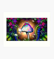 Magic Mushroom LSD ACID Trippy Psychadelic Art Print