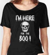 Halloween Shirt/Hoodie/Tank/Dress Gift- Skull, Here for the Boo ! Women's Relaxed Fit T-Shirt