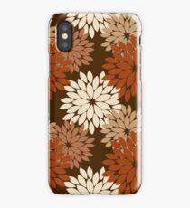 Modern Floral Kimono Print, Dark Brown iPhone Case/Skin