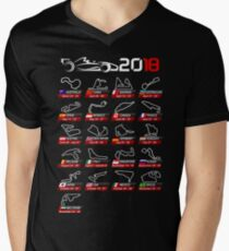 Calendar F1 2018 circuits sport Men's V-Neck T-Shirt