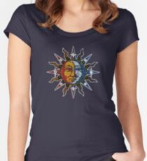 Celestial Mosaic Sun/Moon Women's Fitted Scoop T-Shirt