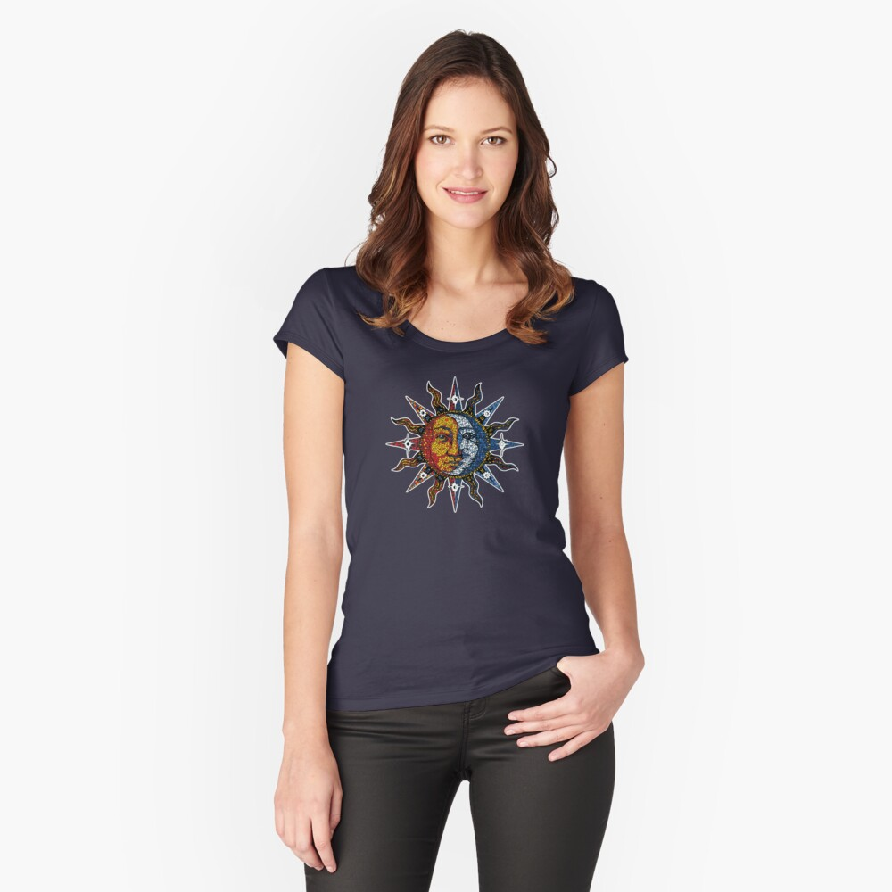 Celestial Mosaic Sun/Moon Fitted Scoop T-Shirt