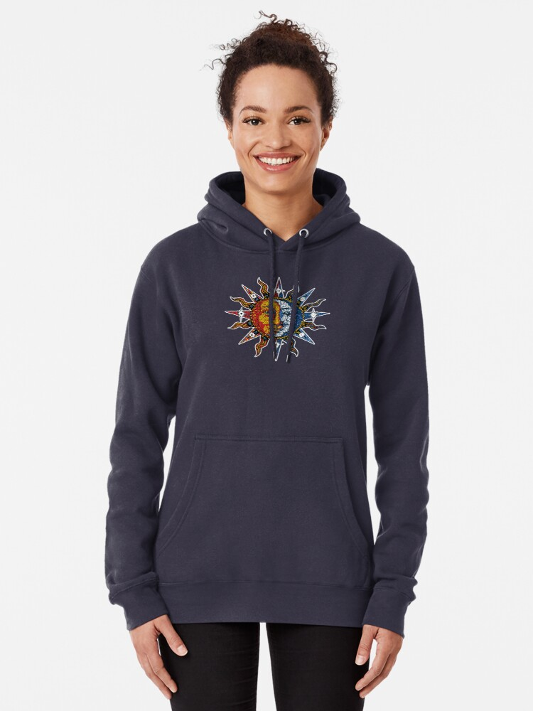 Alternate view of Celestial Mosaic Sun/Moon Pullover Hoodie