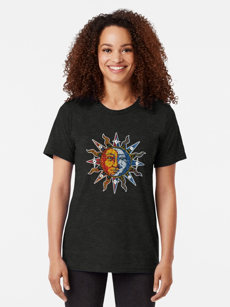 Alternate view of Celestial Mosaic Sun/Moon Tri-blend T-Shirt