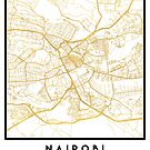 NAIROBI KENYA CITY STREET MAP ART by deificusArt