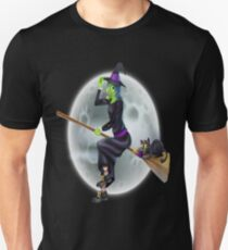 halloween witch on a broomstick T-Shirt