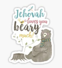 Jehovah Loves You Beary Much Sticker