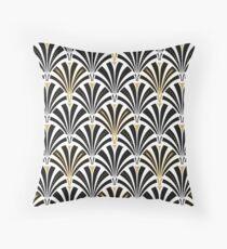 Art Deco fan pattern, black and white Throw Pillow