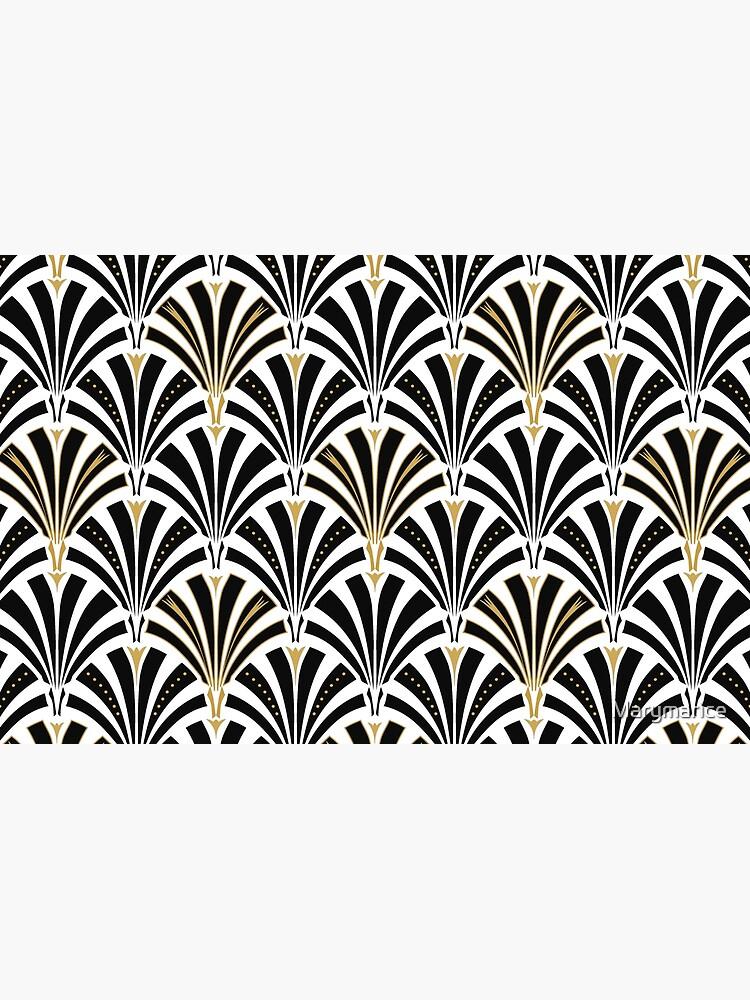 Art Deco Fan Muster, schwarz und weiß von Marymarice