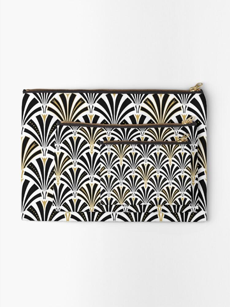 Alternative Ansicht von Art Deco Fan Muster, schwarz und weiß Täschchen