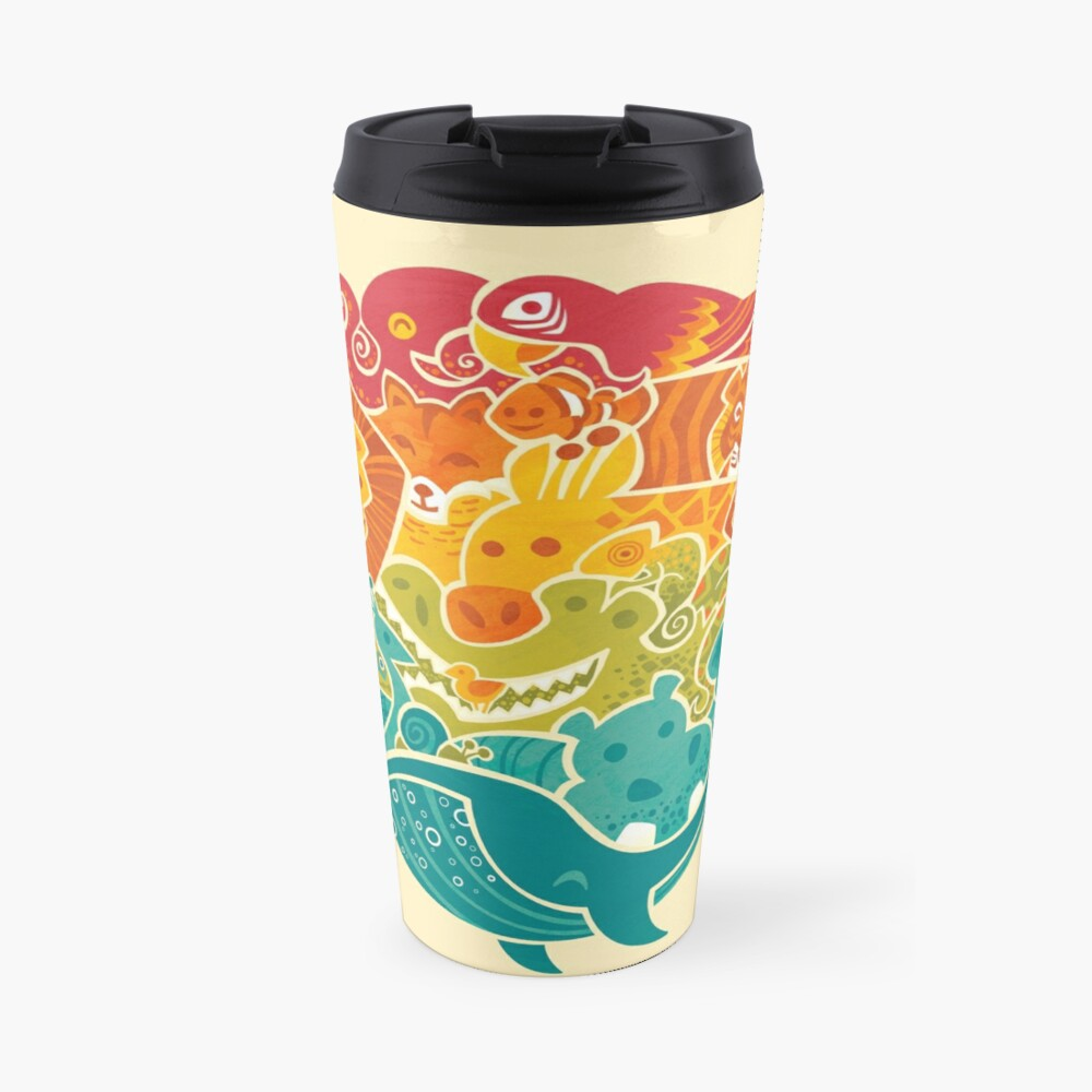 Animal Rainbow - cream Travel Mug