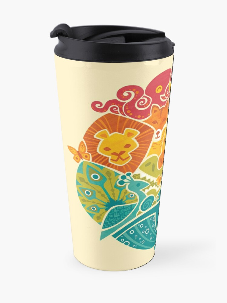 Alternate view of Animal Rainbow - cream Travel Mug