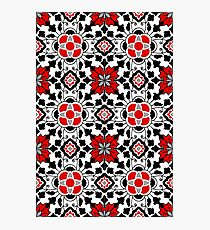 Floral Moroccan Tile, Red, Black and White Photographic Print