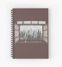 Foggy Forest Window || Cozy Fall Illustration Spiral Notebook