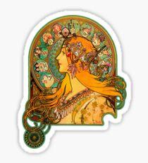 HD Zodiac, (1896) - Alphonse Mucha Sticker